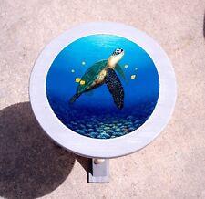 Sea Turtle hand painted wood table painted furniture nautical decor coastal art