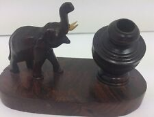 VINTAGE ANTIQUE WOODEN ELEPHANT CARVED DESK PENCIL / PEN HOLDER - INDIA RARE HTF