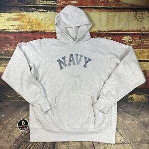 VTG US Navy Reverse Weave HWT Distressed  Hoodie Sweatshirt USA USNA 80s Mens XL