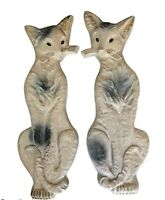 Vintage Chalkware Cat Pair Wall Art Jewel Green Eyes Gray White Cats MCM