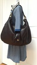 Burberry Malika Large Brown Leather Hobo Shoulder Bag Purse
