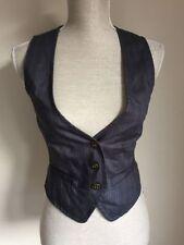 Button Cotton Blend Striped Waistcoats for Women