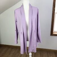 LL Bean NWT Lilac Purple Open Front Cardigan Large Petite Supima Cotton