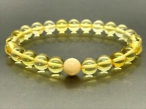 AMBER BRACELET Gift Natural BALTIC AMBER Round Beads Yellow Elastic 5,6g 15731
