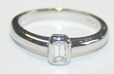 Chunky Looking 18ct White Gold Emerald Cut Diamond Solitaire Ring 0.22cts