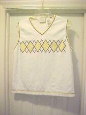 Liz Claiborne  White V-Neck Vest Sweater Size M Yellow Blue Design 100% Cotton