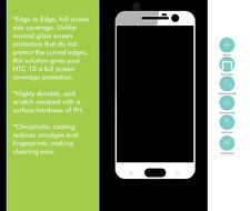 HTC 10 FULL COVER 3D TOUGHENED TEMPERED GLASS SCREEN PROTECTOR WHITE