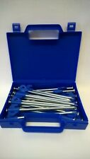 20 Blue Heavy Duty Hard Ground Tent & Awning Peg Rock Pegs Free Case