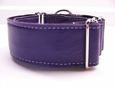 "1.5"" PURPLE LEATHER GREYHOUND MARTINGALE COLLAR"