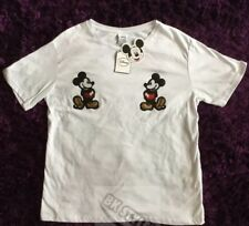 Mickey Mouse Primark Sequin White  t-shirt top  UK 10-12 Fast Post Xmas Present
