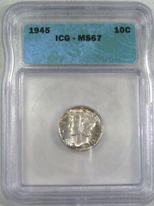 BU GEM 1945 Silver Mercury Dime ICG MS67 - Toned.  #15