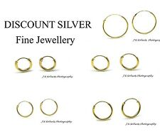 Sterling Silver Hoops Sleeper Earrings with 14ct Gold Plating Small-Large 6-18mm