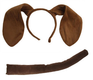 Adult Child Bunny Rabbit Dog Long Brown Ears Headband Tail Puppy Pooch Costume