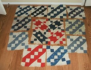 14 VINTAGE JACOBS LADDER QUILT BLOCKS HAND STITCHED ROCKY ROAD TO CALIFORNIA