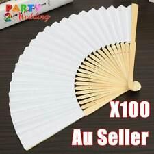 100x White Paper Bamboo Hand Fan Wedding Party Dance Gift Signature Bulk