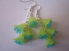 Long Drop / Dangle Earrings - Fuschia Cluster - Lime Green / Turquoise