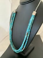 """Native American Navajo Sterling Silver 3S 6mm TURQUOISE HEISHI Necklace 24""""01423"""