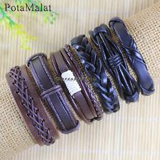 PotaMalat 6pcs Women Men Leather Bangle Wristband Cuff Bracelet Jewelry-D105