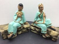 Rigacci Art Works BOOKENDS Japanese Man & Woman 1950's Chalkware Pair VGC