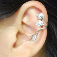 TWO Ear Cuffs with Leaves Antiqued Silver No Piercing Punk Gothic