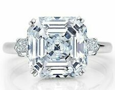 925 Sterling Silver Cz White Asscher Baguette Cocktail Party Women Ring Gift New