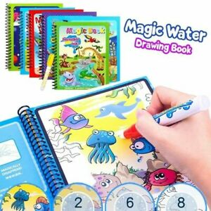 Water Drawing Books Magic Doodle Coloring Book Learning Painting Pen For Kids