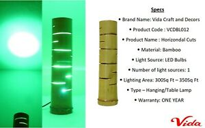 Horizondal Cuts T Bamboo, LED Light, Two Core Wire of 2 metre with Plug