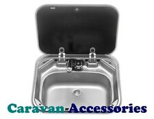 Dometic SMEV 8005 Square Sink Unit With Back Glass Lid - Motorhome / Marine