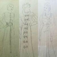 1930's ORIGINAL ART Art Deco Drawing FASHION CLOTHING STYLE DRESS Pencil Artist