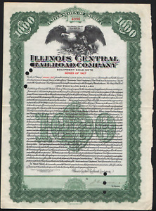 $1M Bd Illinois Central RR 1920 Equipment Trust #33 Green No coupons left