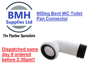 WHITE SOIL PIPE WC TOILET 90DEG BENT WASTE PAN CONNECTOR. FREE DELIVERY!!
