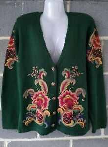 Vintage Susan Bristol Tradition Embroidered Beaded Cardigan Sweater Green Floral