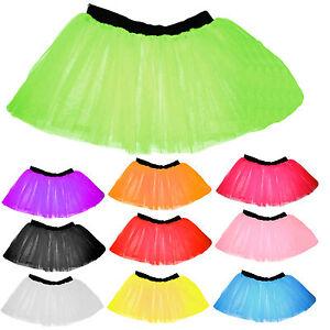 CHILDREN TUTU SKIRT KIDS NEON 3 LAYERS UV FLO GIRL FANCY DRESS PARTY 4-14 YEARS