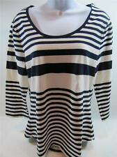 NWT Womens TOMMY HILFIGER 3/4 Sleeve T-Shirt White & Navy Stripes X-Small