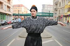 Linek Modelle Pullover schwarz silber 80er True VINTAGE 80´s Fledermausärmel