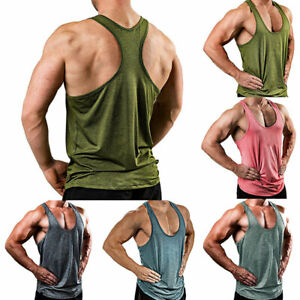 Men Summer Sports Tops Solid Clor T Shirts Tee Vest Sleeveless Fitness Camisole