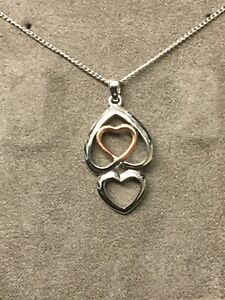 Clogau Silver Pendant St Davids Welsh Rose Gold Sterling Double Heart Necklace