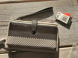 The Sak Iris Crossbody Leather Bag Purse Wristlet Wallet Slate 107467 Freepost