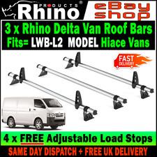 (LWB L2) 3 x Toyota Hi-Ace Power Roof Rack Steel Bars Rhino Delta 2002+ Vans