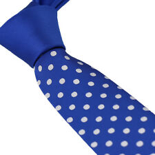 Coachella Ties Blue Knot Contrast Blue with Silver Polka Dot Necktie Skinny Tie