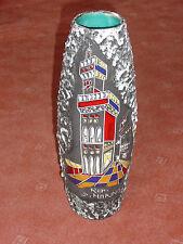 Vase - 35 cm -  Fat Lava Keramik - 60er Jahre - San Marino - mit Emaileinlagen