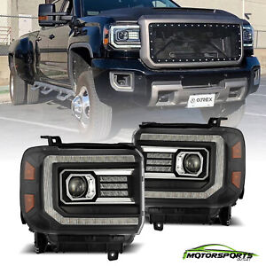 Fit 14-18 GMC Sierra PRO-Series LED Projector Headlights Pair Replacemt Black