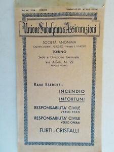 taccuino bloc notes notebook quaderno unione subalpina assicurazioni torino 77