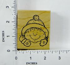 Wood Block Rubber Stamp: Snow, Hat, Gloves, Winter, Christmas, Cold