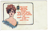1909 Antique Postcard 'Here's to the prettiest' Lou Mayer Ullman 1C stamp