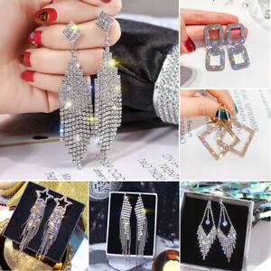 Long Tassel Crystal Earrings Women Rhinestone Drop Dangle Stud Wedding Jewelry
