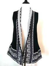 Vintage Suzie Womens Black White Ethnic Open Sleeveless Cardigan Sweater Size PL