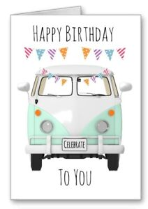 VW Campervan Card Happy Birthday green Motorhome All cards 3 For 2