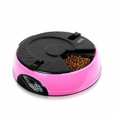 Pet Automatic Feeder Dispenser Bowl Voice Recorder Container Round Food 6 Meals