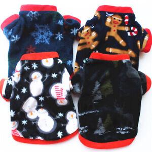 Fall Pet Fleece Vest Dog Christmas Coat Sweatshirt Pet Clothes Puppy Outfits US
